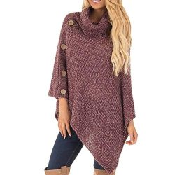 Yiqianzhaobiao_Sweatshirts Women's Knit Turtle Neck Poncho with Button Irregular Hem Pullo ...