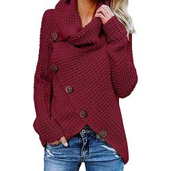 Connia Long Sleeve for Women Solid Sweater Warm Button Turtleneck Sweatshirt Pullover Tops Blous ...