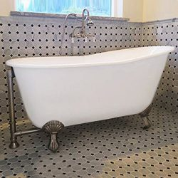 "54″ Cast Iron Swedish Tub with NO Faucet Holes & Brushed Nickel Feet- ""Gentry"""