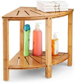 Bambusi Shower Bench Premium Bamboo Corner Shower Stool Bench, Wooden Corner Shower Stool Bench  ...