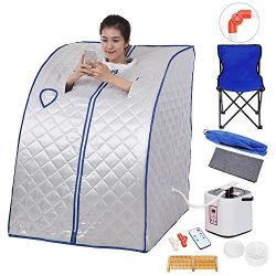 AW Portable Large Chair Silver Personal Therapeutic Steam Sauna SPA Detox Weight Loss Indoor