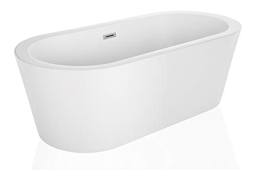 Empava 59″ Luxury Stand Alone Acrylic Soaking SPA Tub Modern Freestanding Bathtubs with Cu ...