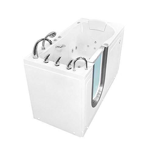 Ella Deluxe 30″x 55″ Air and Hydro Massage Acrylic Walk-In Bathtub, Right Inward Swi ...