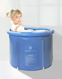 Portable Bathtub (Small) by Homefilos, Japanese Soaking Bath Tub for Shower Stall, Inflatable Fl ...