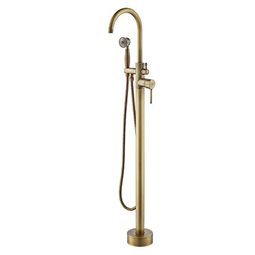 Hongala Modern Floor Mounted Bathtub Faucet Clawfoot Tub Filler Antique Brass
