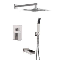 SR SUN RISE Bathroom Luxury Rain Mixer Shower Tub Spout Combo Set Wall Mounted Rainfall Shower H ...