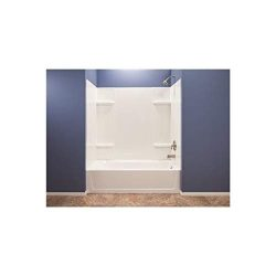 El Mustee 53WHT Durawall Thermoplastic Bathtub Wall Kit, 5 Pieces, 4 Shelves, White, 30 x 60″