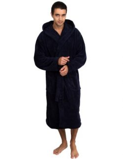 TowelSelections Men's Robe, Turkish Cotton Hooded Terry Bathrobe Large/X-Large Navy