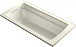 KOHLER K-1948-96 Archer ExoCrylic 66-Inch x 32-Inch Drop-In Bath with Reversible Drain, Biscuit