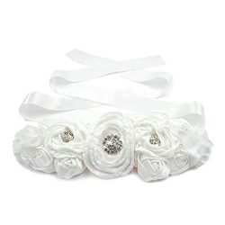Lujuny Floral Bridal Maternity Sash Belt – Flower Ribbon Tie for Women Girls Wedding Pregnant Ba ...