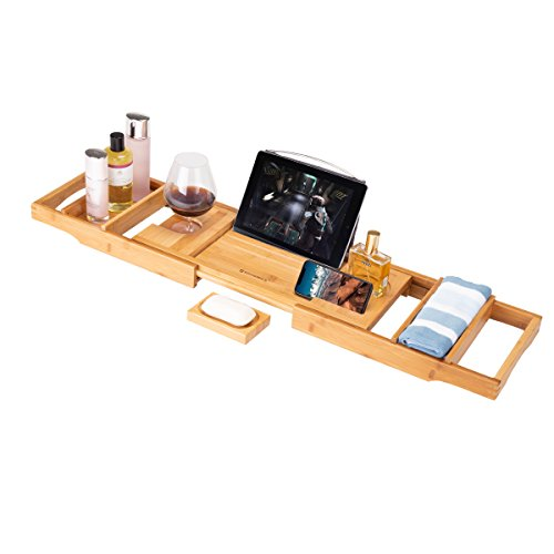Frond Bamboo Bathtub Caddy Tray, Luxury Wood Bath Rack with Extendable Sides for Book, iPad, Kin ...