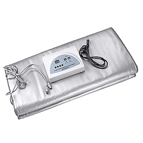 Uttiny Sauna Blanket,110V 2 Zone Digital Far-Infrared (FIR) Heat Therapy Blanket for Body Shape  ...