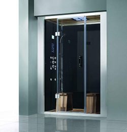 2019 Messina Computerized Walk-in Steam Shower Jetted Sauna Enclosure Spa (Black)