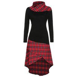 Yiqianzhaobiao Women High Neck Plaid Pattern Patchwork Autumn Winter Dress Long SleeveIrregular  ...