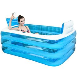 XL Blue Color Inflatable Bathtub Plastic Portable Foldable Bathtub Soaking Bathtub Home SPA Bath ...