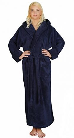 Arus Women's Full Length Long Hooded Soft Twist Turkish Cotton Bathrobe, Medium, Navy Blue