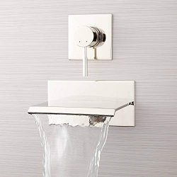 Signature Hardware 378997 Lavelle 6-1/2″ Waterfall Wall Mounted Tub Filler with Metal Leve ...