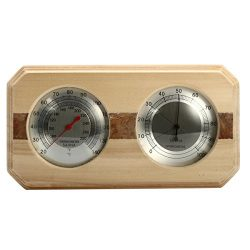 Anddoa Wooden Sauna Hygrothermograph Thermometer Hygrometer Sauna Room Accessory