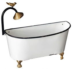 Enamel Wall Bathtub Planter with Faucet