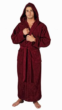 Arus Men's Full Length Long Hooded Turkish Cotton Bathrobe Burgundy Large