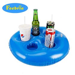 Feebria Inflatable Blue Drink Holders for Pool, Hot Tub, Ocean & River, Cupholder Floaties t ...
