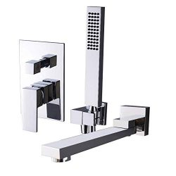 KunMai Wall Mounted Swivel Tub Filler Faucet with Hand Shower in Solid Black/Chrome (Chrome)
