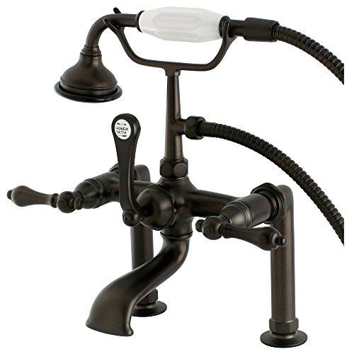 Kingston Brass AE103T5 Aqua Vintage 7″ in Spout Reach Deck Mount Clawfoot Tub Faucet, Oil  ...