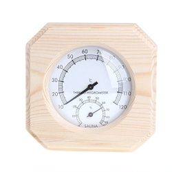 Cencity Sauna Room Wood Hygrometer Humidity Gauge Indicator Digital Indoor Thermometer Room Temp ...