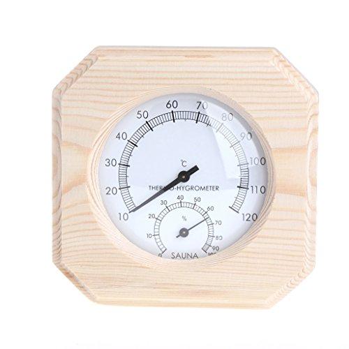 Cencity Sauna Room Wood Hygrometer Humidity Gauge Indicator Digital Indoor Thermometer Room Temp ...