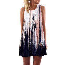 iYBUIA Summer Vintage Boho Women Loose Summer Sleeveless 3D Floral Print Bohe Tank A-Line Mini D ...