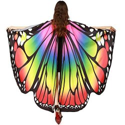 Wobuoke Women Butterfly Wings Shawl Scarves Fairy Ladies Nymph Pixie Poncho Costume Accessory
