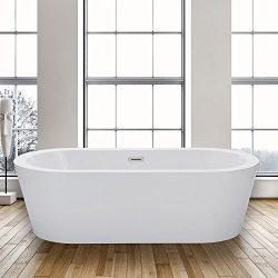 Woodbridge Freestanding Bathtub, 100% Acrylic Bath Tub, High Glossy White, with Brushed Nickel O ...