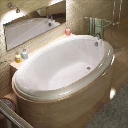 Atlantis Whirlpools 4478pc Petite Oval Soaking Bathtub, 44 X 78, Center Drain, White