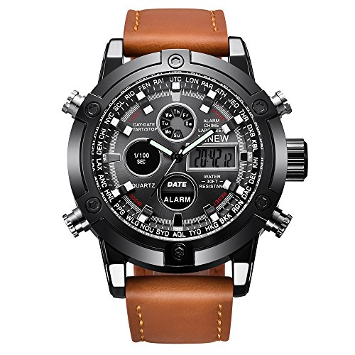 Watches for Men Sports Chronograph Waterproof Analog Quartz Watch with Leather Band Classic Casu ...