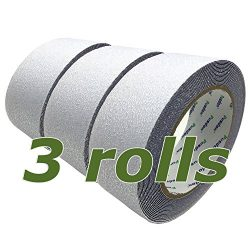 Pusdon Clear Anti Slip Tape 3 Pack, 2-Inch x 20Ft Each Roll, Wooden Stairs Safety-Walk Tub and S ...
