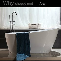 55 inch Free Standing Tub, Small Freestanding Acrylic Bathtub with Overflow, Side Drain and Hose ...