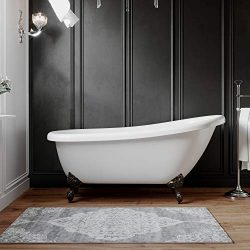 Freestanding 61″ Acrylic Slipper Bathtub with NO Faucet holes & Oil rubbed Bronze Feet ...