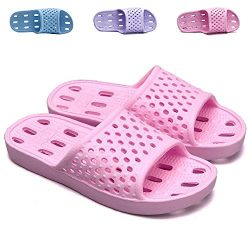 clootess Shower Shoes Bath Slipper Slides Sandal for Women and Mens Bathroom Pool Indoor Home So ...