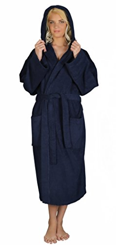 Arus Women's Classic Hooded Bathrobe Turkish Cotton Terry Cloth Robe (L,N.Blue)