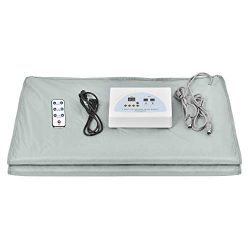 Pettyios Far Infrared Sauna Blanket, 110V 2 Zone Waterproof Oxford Fabric Detoxification Blanket ...