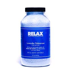 Lavender Palmarosa Aromatherapy Bath Crystals -22 Oz– Natural Aroma Therapy Dead Sea Salts for H ...