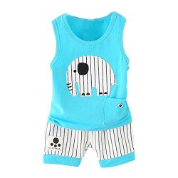 Koolee_Baby Clothes Toddler Kids Summer O-Neck Cartoon Vest + Stripe Shorts Sport Suit for Infan ...