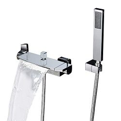 KunMai Waterfall Wall Mounted Tub Faucet with Hand Shower Two Handles Bathtub Faucet in Chrome S ...