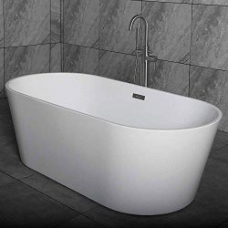 WOODBRIDGE White 67″ Acrylic Freestanding Bathtub Contemporary Soaking Tub with Brushed Ni ...