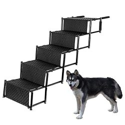 Pet Dog Car Step Stairs, Accordion Folding Pet Ramp for Indoor Outdoor Use, Lightweight Portable ...