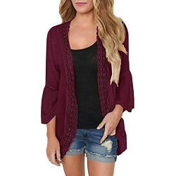 iYBUIA Womens Casual Solid Lace Three Quarter Flare Sleeve Chiffon Cardigan Loose Kimono Blouse  ...