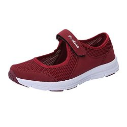 Women's Breathable Mesh Sneakers Anti Slip Fitness Running Sports Shoes Sandals (Wine, US:7.0)