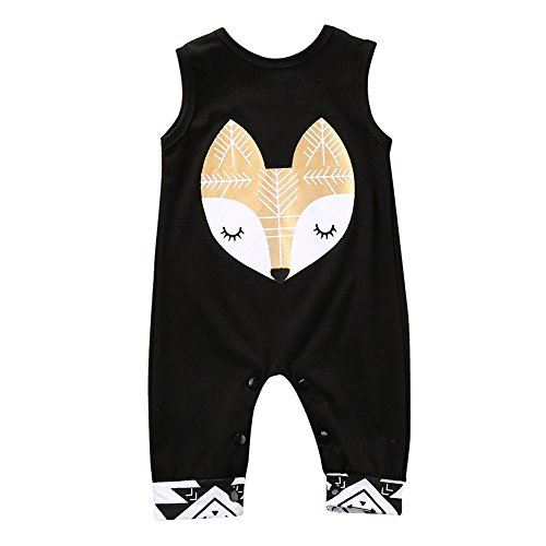 Kids Toddler Baby Girl Fox Print Sleeveless Overall Romper Jumpsuit Trousers Clothes Outfits Black