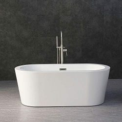 WOODBRIDGE B-0012/BTA-1506 WHITE 59″ Acrylic Freestanding Bathtub Contemporary Soaking Tub ...