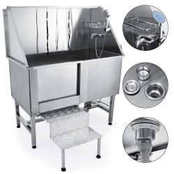 Mophorn 50″ Professional Stainless Steel Pet Dog Grooming Tub Pet Bathing Large Pet Groomi ...